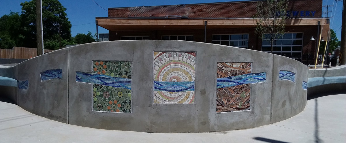 Home Sight Greensboro Greenway NC by Jeannette Brossart public art recycled mosaic