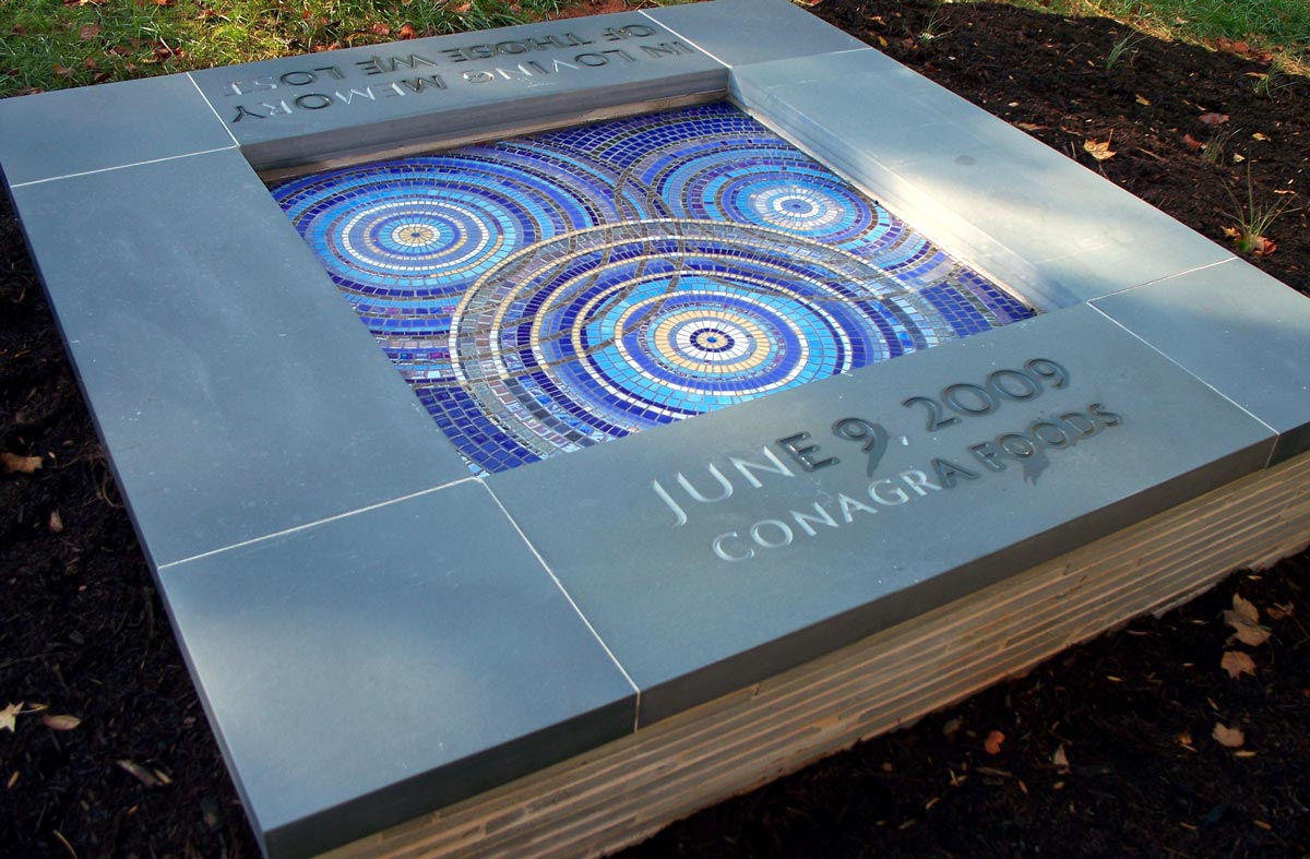 ConAgra Memorial, White Deer Park, Garner, NC by Jeannette Brossart recycled glass tile mosaic public art