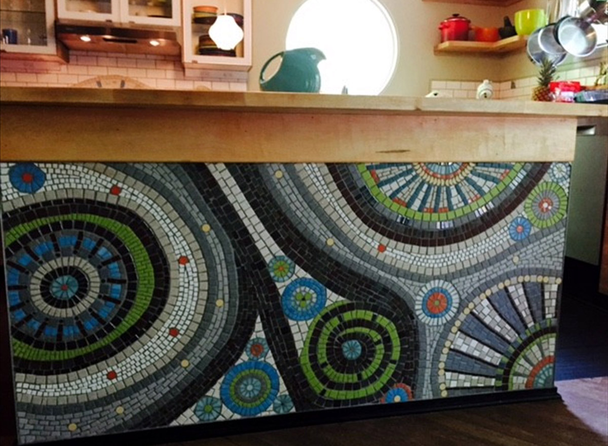 Custom Kitchen Island mosaic project, by Jeannette Brossart, recycled glass tile mosaic