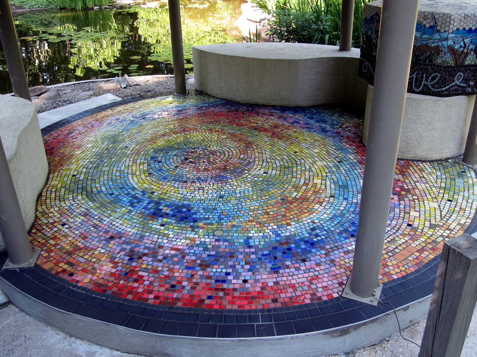 Rakusin Gazebo recycled mosaic tile, private residence, Chapel Hill NC by Jeannette Brossart