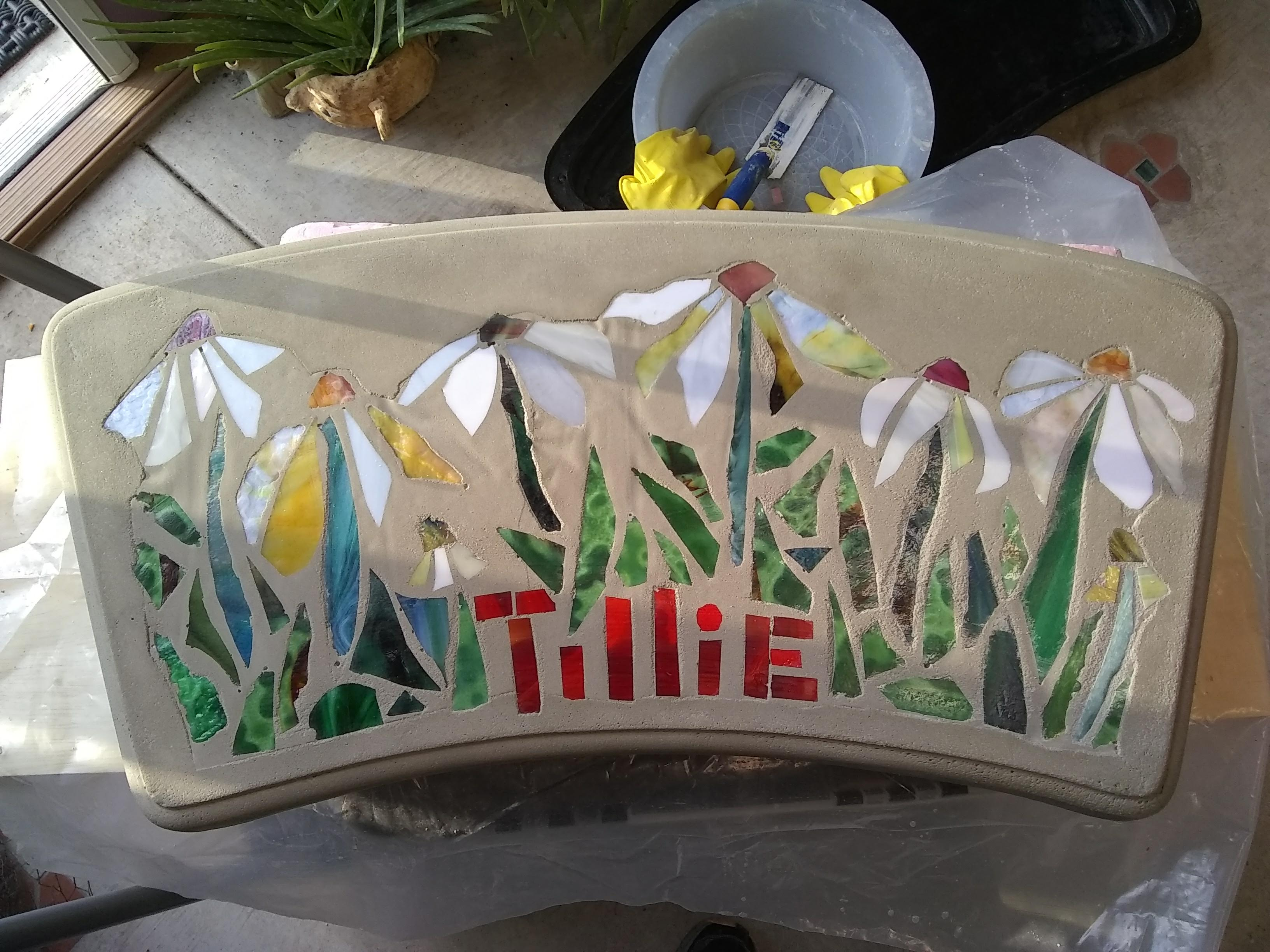 Tillie's Garden mosaic bench top by Jeannette Brossart, cast concrete glass mosaic, private commission