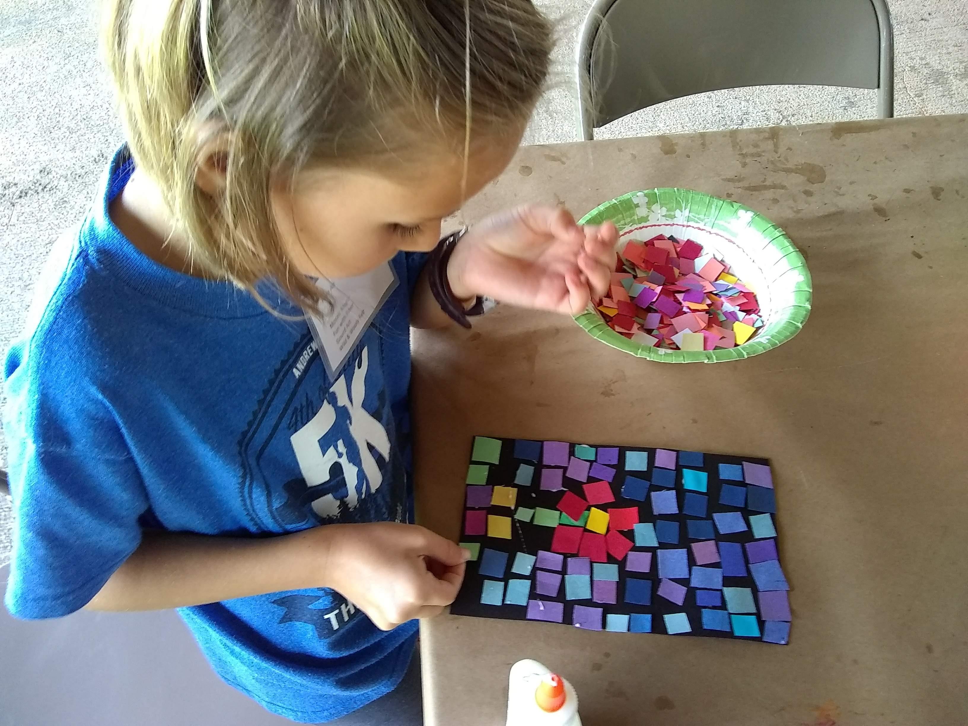 Little Middle student John C Campbell Folk School, with Jeannette Brossart paper mosaic