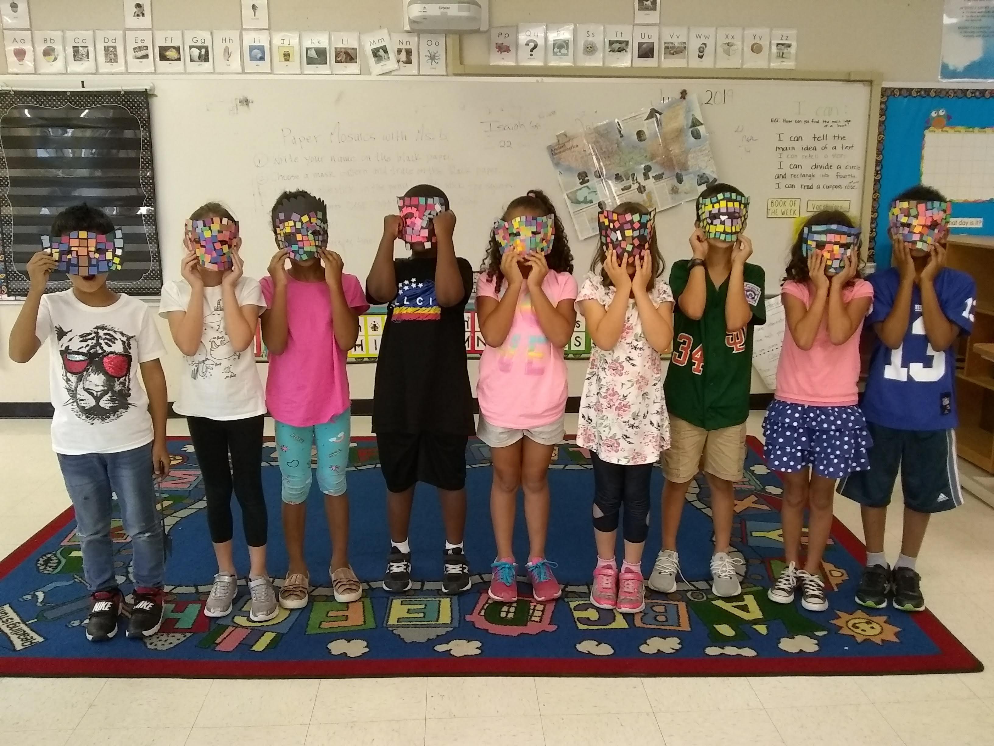 Durham Public Schools summer camp, Aztec mask paper mosaics with Jeannette Brossart