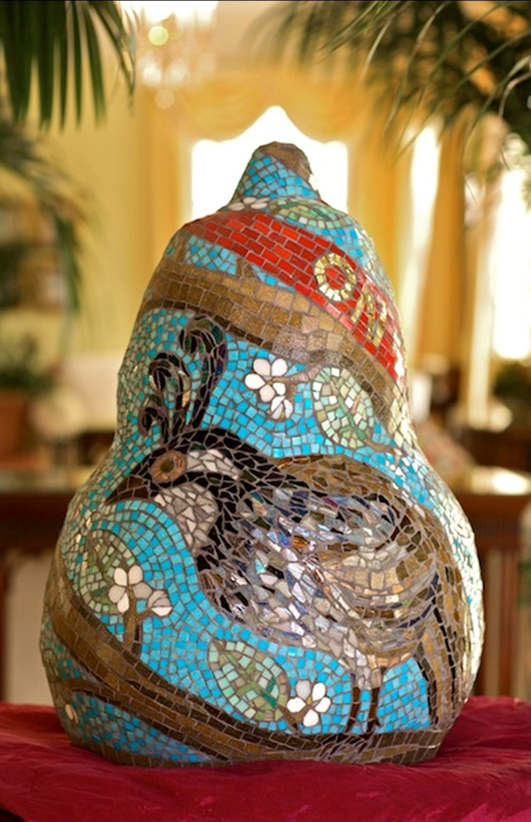 On The First Day, Carolina Inn, Chapel Hill NC by Jeannette Brossart, mosaic sculpture