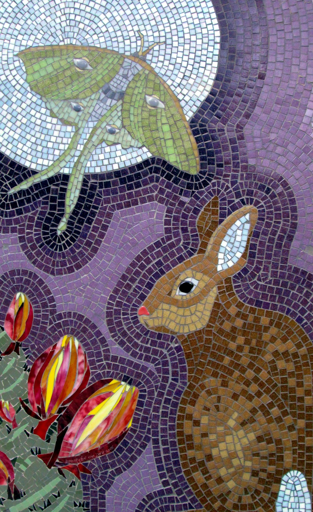 """Jeannette Brossart """"Beauty For Me"""" recycled mosaic glass rabbit luna moth"""